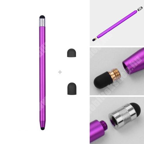 LG K40 (K12+) Érintőképernyő ceruza - kapacitív kijelzőhöz, 14,2cm hosszú, cserélhető tartalék érintőpárnákkal 1db 5mm-es és 1db 7mm-es - LILA