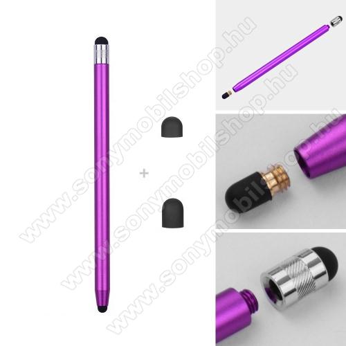SONY Xperia 1 (2019)Érintőképernyő ceruza - kapacitív kijelzőhöz, 14,2cm hosszú, cserélhető tartalék érintőpárnákkal 1db 5mm-es és 1db 7mm-es - LILA