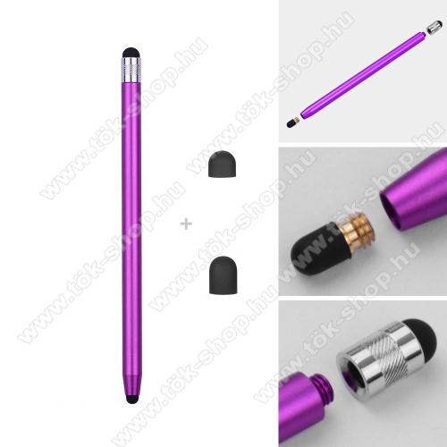SAMSUNG SM-T547 Galaxy Tab Active Pro (LTE)Érintőképernyő ceruza - kapacitív kijelzőhöz, 14,2cm hosszú, cserélhető tartalék érintőpárnákkal 1db 5mm-es és 1db 7mm-es - LILA