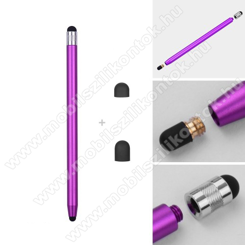 SAMSUNG Galaxy A20s (SM-A207F)Érintőképernyő ceruza - kapacitív kijelzőhöz, 14,2cm hosszú, cserélhető tartalék érintőpárnákkal 1db 5mm-es és 1db 7mm-es - LILA
