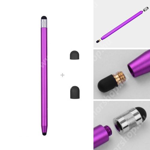 HUAWEI Honor 6 Érintőképernyő ceruza - kapacitív kijelzőhöz, 14,2cm hosszú, cserélhető tartalék érintőpárnákkal 1db 5mm-es és 1db 7mm-es - LILA