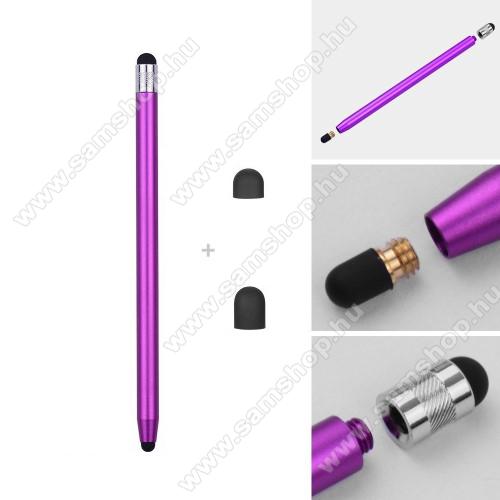 SAMSUNG Galaxy Pocket Neo (GT-S5310)Érintőképernyő ceruza - kapacitív kijelzőhöz, 14,2cm hosszú, cserélhető tartalék érintőpárnákkal 1db 5mm-es és 1db 7mm-es - LILA