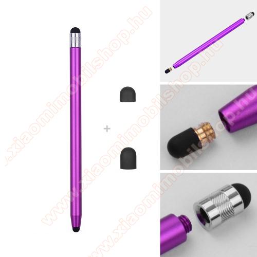 Xiaomi Mi 4cÉrintőképernyő ceruza - kapacitív kijelzőhöz, 14,2cm hosszú, cserélhető tartalék érintőpárnákkal 1db 5mm-es és 1db 7mm-es - LILA