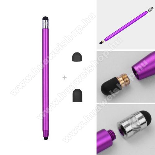 Honor Tab 5Érintőképernyő ceruza - kapacitív kijelzőhöz, 14,2cm hosszú, cserélhető tartalék érintőpárnákkal 1db 5mm-es és 1db 7mm-es - LILA