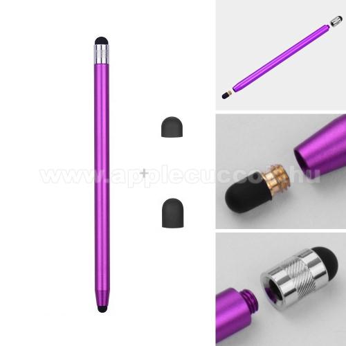 APPLE iPhone 11 ProÉrintőképernyő ceruza - kapacitív kijelzőhöz, 14,2cm hosszú, cserélhető tartalék érintőpárnákkal 1db 5mm-es és 1db 7mm-es - LILA