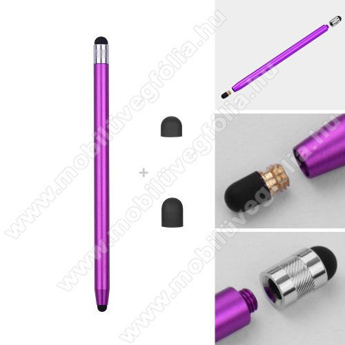 SAMSUNG SM-T545 Galaxy Tab Active Pro (Wi-Fi)Érintőképernyő ceruza - kapacitív kijelzőhöz, 14,2cm hosszú, cserélhető tartalék érintőpárnákkal 1db 5mm-es és 1db 7mm-es - LILA