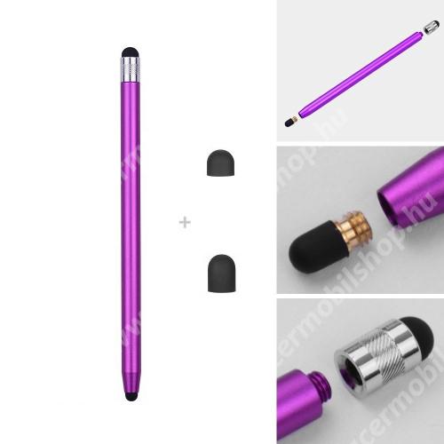 ACER Liquid C1 Érintőképernyő ceruza - kapacitív kijelzőhöz, 14,2cm hosszú, cserélhető tartalék érintőpárnákkal 1db 5mm-es és 1db 7mm-es - LILA