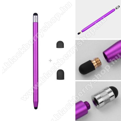 BLACKBERRY DTEK50Érintőképernyő ceruza - kapacitív kijelzőhöz, 14,2cm hosszú, cserélhető tartalék érintőpárnákkal 1db 5mm-es és 1db 7mm-es - LILA