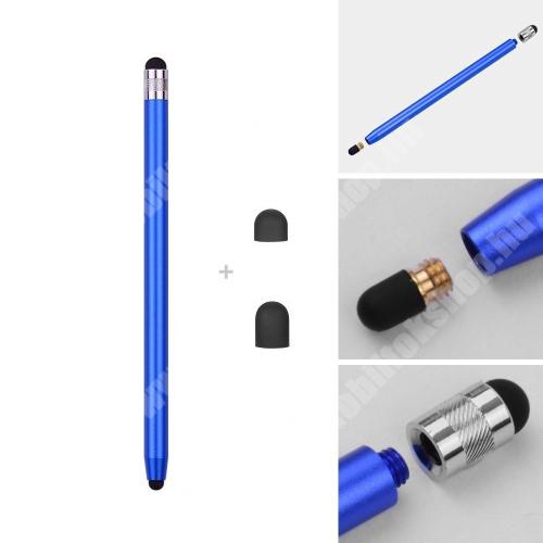 HTC Desire 12s Érintőképernyő ceruza - kapacitív kijelzőhöz, 14,2cm hosszú, cserélhető tartalék érintőpárnákkal 1db 5mm-es és 1db 7mm-es - SÖTÉTKÉK