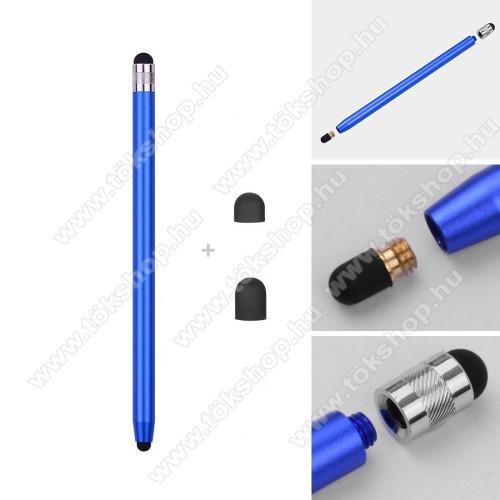 vivo V20 SEÉrintőképernyő ceruza - kapacitív kijelzőhöz, 14,2cm hosszú, cserélhető tartalék érintőpárnákkal 1db 5mm-es és 1db 7mm-es - SÖTÉTKÉK