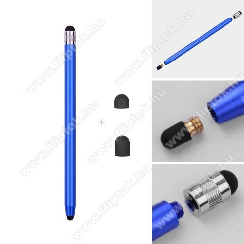 ZTE S30Érintőképernyő ceruza - kapacitív kijelzőhöz, 14,2cm hosszú, cserélhető tartalék érintőpárnákkal 1db 5mm-es és 1db 7mm-es - SÖTÉTKÉK