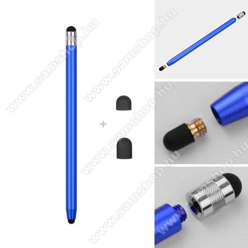 SAMSUNG Galaxy M21 (SM-M215F/DSN)Érintőképernyő ceruza - kapacitív kijelzőhöz, 14,2cm hosszú, cserélhető tartalék érintőpárnákkal 1db 5mm-es és 1db 7mm-es - SÖTÉTKÉK
