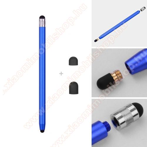 Xiaomi Poco X3 ProÉrintőképernyő ceruza - kapacitív kijelzőhöz, 14,2cm hosszú, cserélhető tartalék érintőpárnákkal 1db 5mm-es és 1db 7mm-es - SÖTÉTKÉK