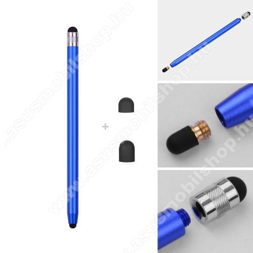 ASUS Zenfone 2 (ZE551ML)Érintőképernyő ceruza - kapacitív kijelzőhöz, 14,2cm hosszú, cserélhető tartalék érintőpárnákkal 1db 5mm-es és 1db 7mm-es - SÖTÉTKÉK