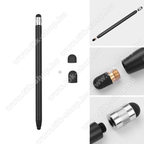 Érintőképernyő ceruza - kapacitív kijelzőhöz, 14,2cm hosszú, cserélhető tartalék érintőpárnákkal 1db 5mm-es és 1db 7mm-es - FEKETE