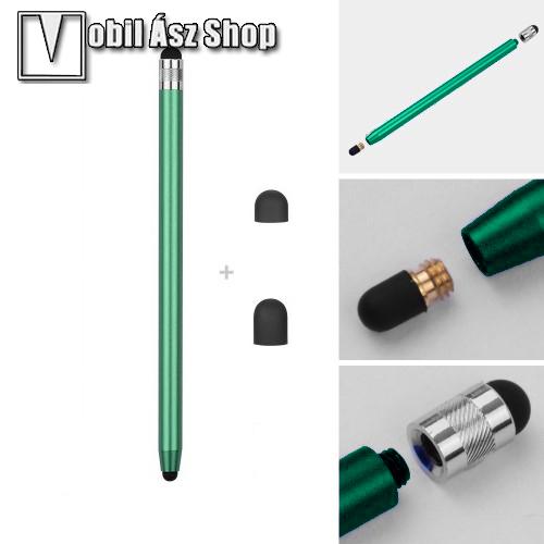 HUAWEI P9Érintőképernyő ceruza - kapacitív kijelzőhöz, 14,2cm hosszú, cserélhető tartalék érintőpárnákkal 1db 5mm-es és 1db 7mm-es - ZÖLD