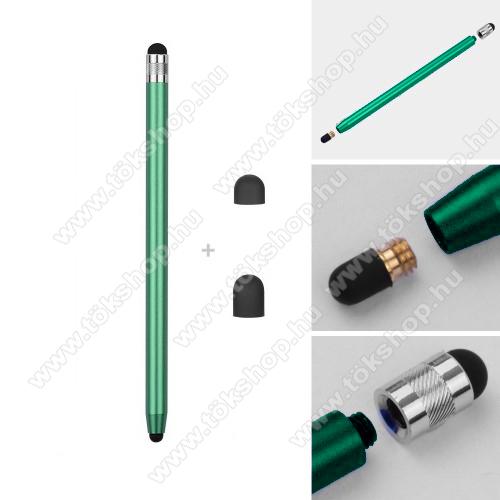 vivo V20 SEÉrintőképernyő ceruza - kapacitív kijelzőhöz, 14,2cm hosszú, cserélhető tartalék érintőpárnákkal 1db 5mm-es és 1db 7mm-es - ZÖLD