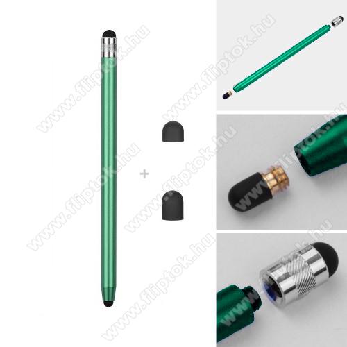 ZTE S30Érintőképernyő ceruza - kapacitív kijelzőhöz, 14,2cm hosszú, cserélhető tartalék érintőpárnákkal 1db 5mm-es és 1db 7mm-es - ZÖLD
