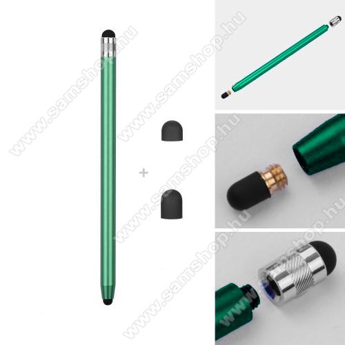 SAMSUNG Galaxy M30 (SM-M305F)Érintőképernyő ceruza - kapacitív kijelzőhöz, 14,2cm hosszú, cserélhető tartalék érintőpárnákkal 1db 5mm-es és 1db 7mm-es - ZÖLD
