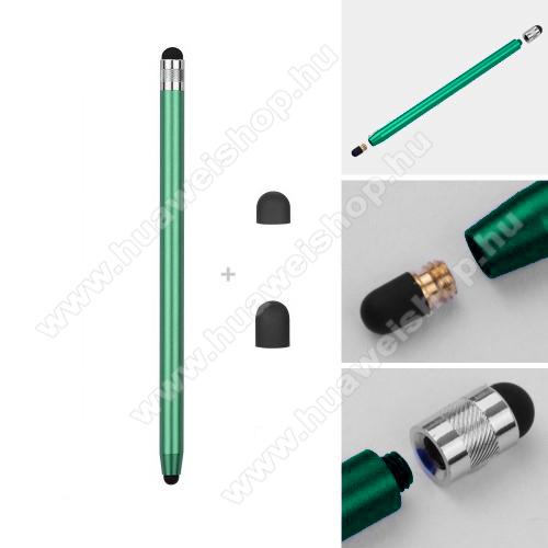 HUAWEI Mate 30Érintőképernyő ceruza - kapacitív kijelzőhöz, 14,2cm hosszú, cserélhető tartalék érintőpárnákkal 1db 5mm-es és 1db 7mm-es - ZÖLD