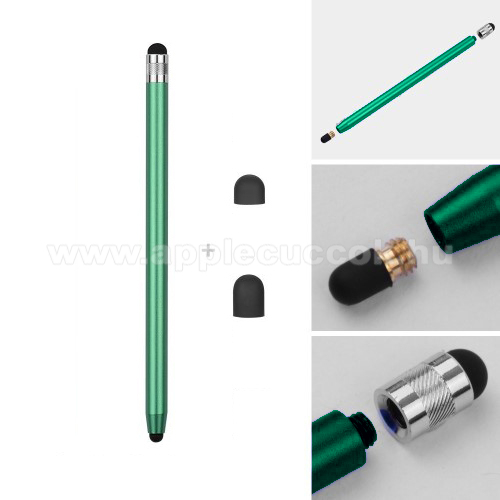 APPLE iPad 2 (2th generation)Érintőképernyő ceruza - kapacitív kijelzőhöz, 14,2cm hosszú, cserélhető tartalék érintőpárnákkal 1db 5mm-es és 1db 7mm-es - ZÖLD