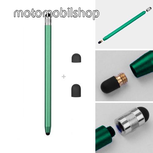 MOTOROLA Moto G8 Plus Érintőképernyő ceruza - kapacitív kijelzőhöz, 14,2cm hosszú, cserélhető tartalék érintőpárnákkal 1db 5mm-es és 1db 7mm-es - ZÖLD