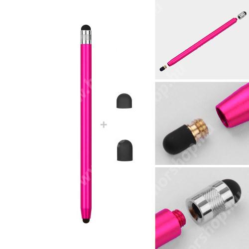HUAWEI Honor 6 Érintőképernyő ceruza - kapacitív kijelzőhöz, 14,2cm hosszú, cserélhető tartalék érintőpárnákkal 1db 5mm-es és 1db 7mm-es - RÓZSASZÍN