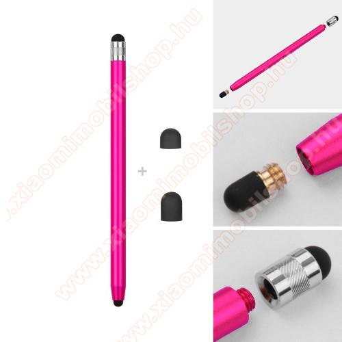 Érintőképernyő ceruza - kapacitív kijelzőhöz, 14,2cm hosszú, cserélhető tartalék érintőpárnákkal 1db 5mm-es és 1db 7mm-es - RÓZSASZÍN