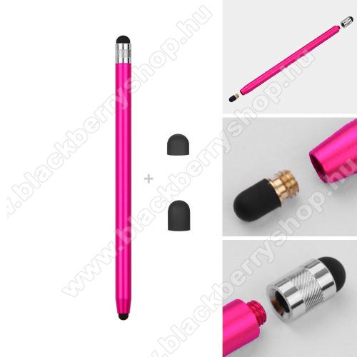BLACKBERRY DTEK60Érintőképernyő ceruza - kapacitív kijelzőhöz, 14,2cm hosszú, cserélhető tartalék érintőpárnákkal 1db 5mm-es és 1db 7mm-es - RÓZSASZÍN