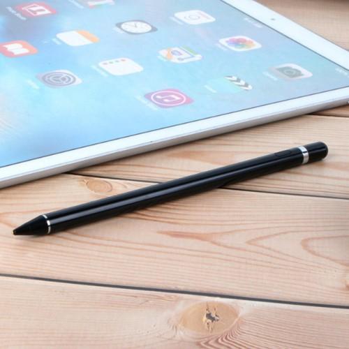 Érintőképernyő ceruza - kapacitív kijelzőkhöz, aktív érzékelő technológia, beépített újratölthető akkumulátorral, kézírásra, rajzolásra is alkalmas, 9mm x 180mm - FEKETE