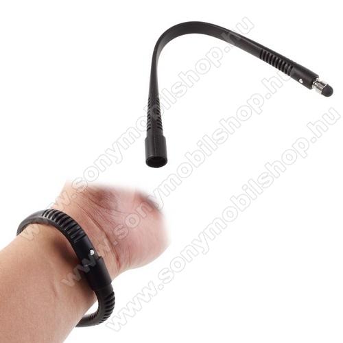 SONY Xperia Z4 Tablet LTEÉrintőképernyő ceruza - szilikon, csuklóra rögzíthető, kapacitív kijelzőhöz, 21 cm - FEKETE