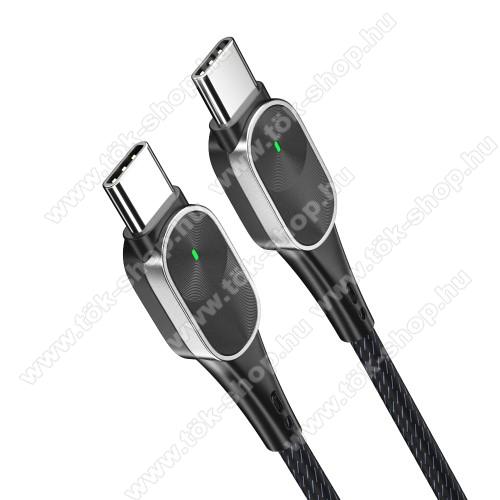ESSAGER adatátviteli kábel / USB töltő - USB 3.1 Type C / Type C csatlakozás, 60W, 1m hosszú, 20V/3A PD gyorstöltés támogatás, szövettel bevont - FEKETE