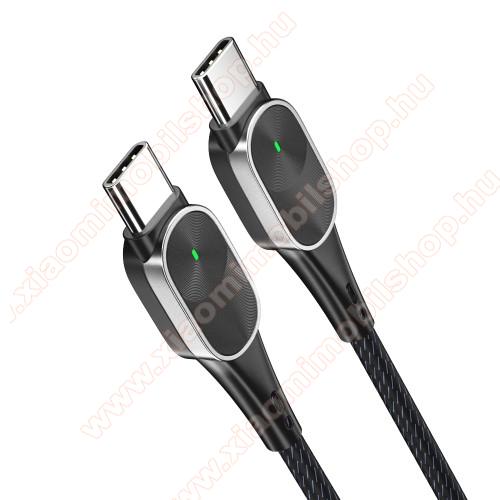 Xiaomi Mi Mix 2sESSAGER adatátviteli kábel / USB töltő - USB 3.1 Type C / Type C csatlakozás, 60W, 1m hosszú, 20V/3A PD gyorstöltés támogatás, szövettel bevont - FEKETE
