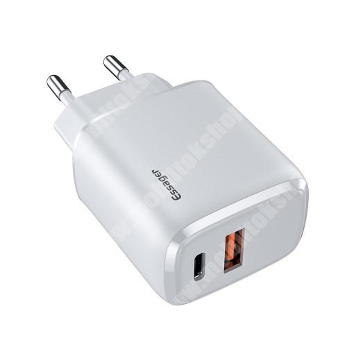 LG G4c (H525N) ESSAGER hálózati töltő USB / Type C aljzattal - QC3.0/PD3.0, 20W, USB aljzat: 5V/3A, 9V/2.22A, 12V/1.66A Type-C aljzat 5V/3A, 9V/2.22A, 12V/1.66A - FEHÉR