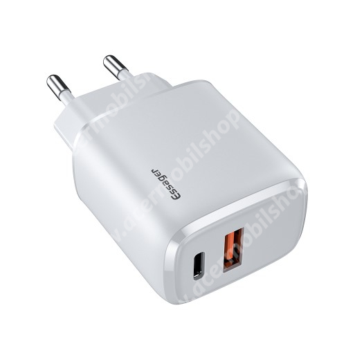 ACER Iconia Tab 8 A1-840FHD ESSAGER hálózati töltő USB / Type C aljzattal - QC3.0/PD3.0, 20W, USB aljzat: 5V/3A, 9V/2.22A, 12V/1.66A Type-C aljzat 5V/3A, 9V/2.22A, 12V/1.66A - FEHÉR