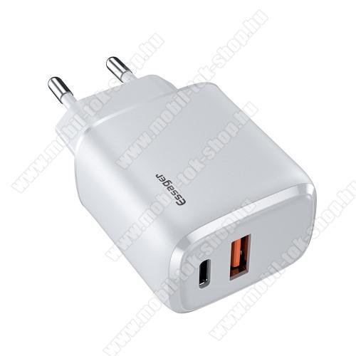 ESSAGER hálózati töltő USB / Type C aljzattal - QC3.0/PD3.0, 20W, USB aljzat: 5V/3A, 9V/2.22A, 12V/1.66A Type-C aljzat 5V/3A, 9V/2.22A, 12V/1.66A - FEHÉR