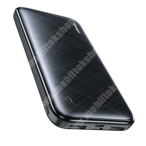 Jolla Jolla C ESSAGER hordozható vésztöltő / Powerbank - belső 10000mAh akku, ultravékony, 216g, 2x USB aljzat 5V/2.4A, microUSB és Type-C bemenet, LED jelzőfény, 137mm x 69mm x 16mm - FEKETE - GYÁRI