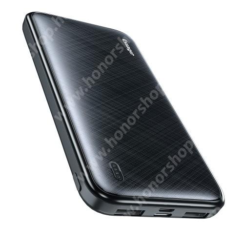ESSAGER hordozható vésztöltő / Powerbank - belső 10000mAh akku, ultravékony, 216g, 2x USB aljzat 5V/2.4A, microUSB és Type-C bemenet, LED jelzőfény, 137mm x 69mm x 16mm - FEKETE - GYÁRI