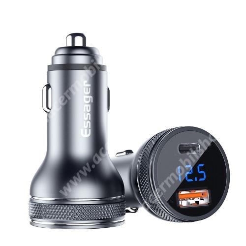 ACER Liquid Jade (S55)ESSAGER szivargyújtós töltő / autós töltő - Quick Charge 3.0, Input: DC 12V-30V, 1db USB aljzattal: 5V/3A, 9V/2A, 12V/1.5A, 1DB Type-c aljzattal: 5V/3A, 9V/2A, 12V/1.5A, 36W - FEKETE