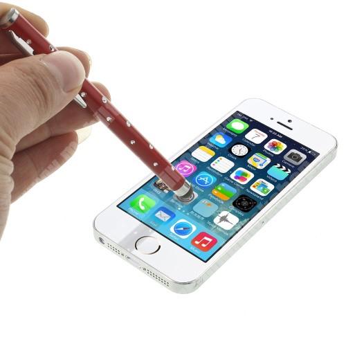 T-Mobile HTC Touch HD2 (HTC Leo) EXKLUZÍV érintőképernyő ceruza - strassz kővel díszített, kapacitív kijelzőhöz - PIROS