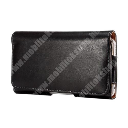 APPLE iPhone 6 Plus Fekvő tok - mágneses, övre fűzhető, övcsipesz, APPLE iPhone 6 Plus méret - 157 x 80 x 15mm - FEKETE