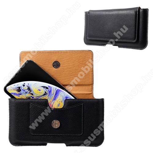 Fekvő tok - övre fűzhető, bankkártyatartó zseb, mágnesescsatos záródás - FEKETE - Apple Iphone XS Max méret