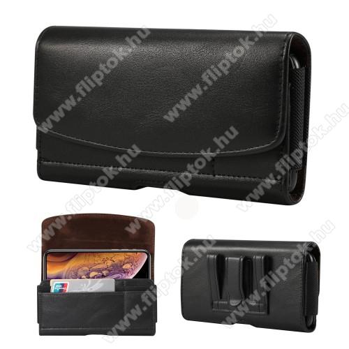 Motorola One MacroFekvő tok - univerzális, mágneses, övre fűzhető, övcsipesz, gumis, bankkártyatartó zseb - 160 x 83 x 18mm - FEKETE