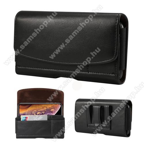 SAMSUNG SM-C9000 Galaxy C9 ProFekvő tok - univerzális, mágneses, övre fűzhető, övcsipesz, gumis, bankkártyatartó zseb - 160 x 83 x 18mm - FEKETE