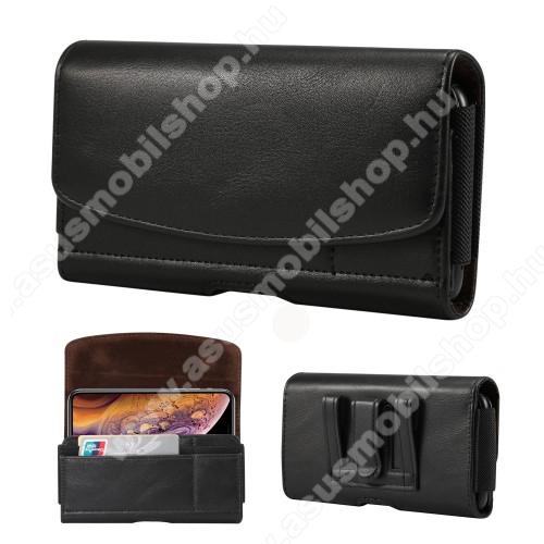ASUS Zenfone Max Pro (M1) (ZB601KL)Fekvő tok - univerzális, mágneses, övre fűzhető, övcsipesz, gumis, bankkártyatartó zseb - 160 x 83 x 18mm - FEKETE