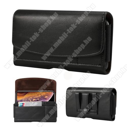 Fekvő tok - univerzális, mágneses, övre fűzhető, övcsipesz, gumis, bankkártyatartó zseb - 160 x 83 x 18mm - FEKETE