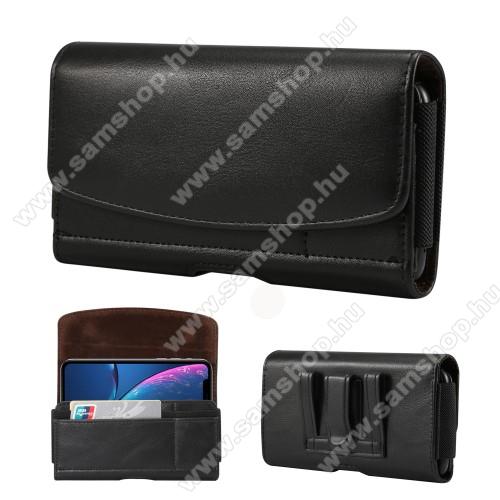 SAMSUNG Galaxy Note4 (SM-N910C)Fekvő tok - univerzális, mágneses, övre fűzhető, övcsipesz, gumis, bankkártyatartó zseb - 155 x 80 x 18mm - FEKETE