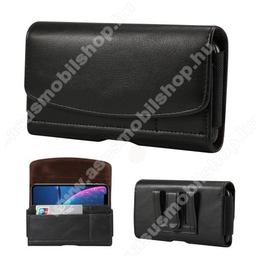 ASUS Zenfone 2 (ZE551ML)Fekvő tok - univerzális, mágneses, övre fűzhető, övcsipesz, gumis, bankkártyatartó zseb - 155 x 80 x 18mm - FEKETE