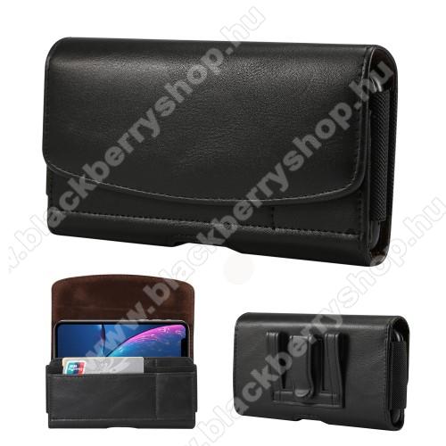 BLACKBERRY Key2Fekvő tok - univerzális, mágneses, övre fűzhető, övcsipesz, gumis, bankkártyatartó zseb - 155 x 80 x 18mm - FEKETE