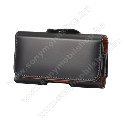 SONY Xperia XZ PremiumFekvő tok - univerzális, mágneses, övre fűzhető, övcsipesz - 160 x 80 x 10mm - FEKETE